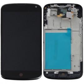 Ecran LCD + vitre tactile + châssis Nexus 4 E960 Noir (Compatible AAA)