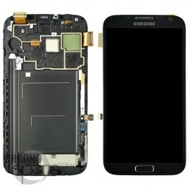 Ecran LCD + Vitre Tactile + Chassis Galaxy Note 2 N7105 Gris/Noir (Compatible AAA)