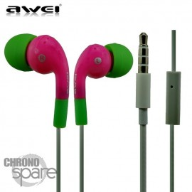 Ecouteurs Intra-auriculaires AWEI Q9i Rose/Vert