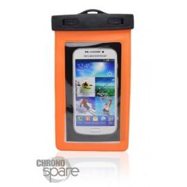 Pochette étanche orange pour smartphone 5.8 pouces