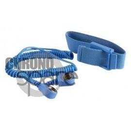 Bracelet ajustable antistatique pin 10mm 1.8m Bleu
