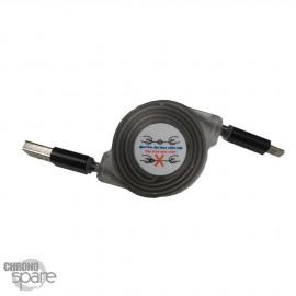 Câble enrouleur 1 mètre lightning - noir