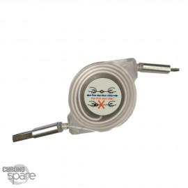 Câble lumineux avec enrouleur 1 mètre - Type C - Blanc
