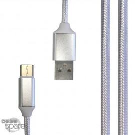 Câble tressé 1m Type C - Blanc