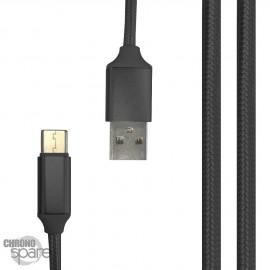 Câble tressé 1m Type C - Noir