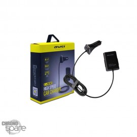 Chargeur Allume Cigare 4 ports USB AWEI C-400 Noir