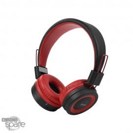 Casque Audio Bluetooth / Radio HOCO W16- Noir/Rouge