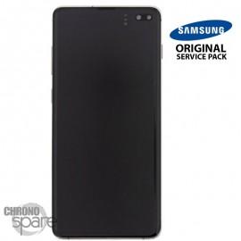 Ecran LCD + Vitre Tactile + châssis noir Samsung Galaxy S10 Plus G975F (officiel)