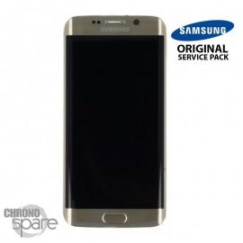 Vitre tactile + Ecran LCD + Châssis Samsung Galaxy S6 Edge Or Stellaire (G925F) GH97-17162C (officiel)