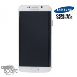 Vitre tactile + Ecran LCD + Châssis Samsung Galaxy S6 Edge Blanc (G925F) GH97-17162B (officiel)