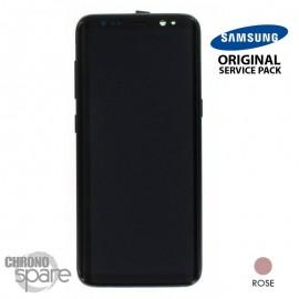 Ecran LCD + Vitre Tactile + châssis Rose Poudré Samsung Galaxy S8 G950F (officiel)