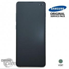 Ecran LCD + Vitre Tactile + châssis vert Samsung Galaxy S10 Plus G975F (officiel)