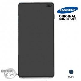 Ecran LCD + Vitre Tactile + châssis bleu Samsung Galaxy S10 Plus G975F (officiel)