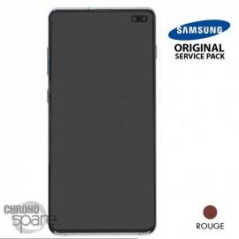 Ecran LCD + Vitre Tactile + châssis rouge Samsung Galaxy S10 Plus G975F (officiel)