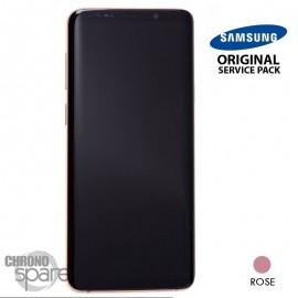 Ecran LCD + Vitre Tactile + châssis rose Samsung Galaxy S9 Plus G965F (officiel)