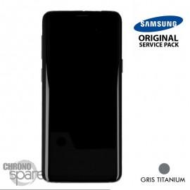 Ecran LCD + Vitre Tactile + châssis gris titanium Samsung Galaxy S9 G960F (officiel)