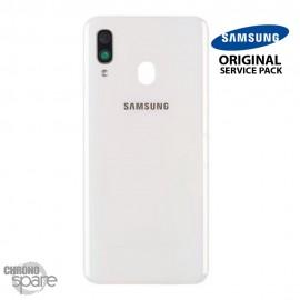 Vitre arrière + vitre caméra Blanche Samsung Galaxy A40 (Officiel)