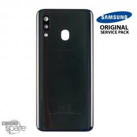 Vitre arrière + vitre caméra Noire Samsung Galaxy A40 (Officiel)