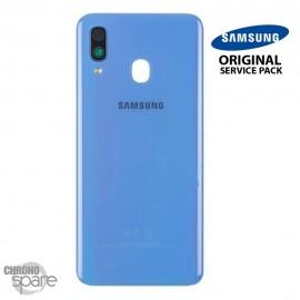 Vitre arrière + vitre caméra Bleue Samsung Galaxy A40 (Officiel)
