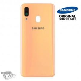 Vitre arrière + vitre caméra Corail Samsung Galaxy A40 (Officiel)