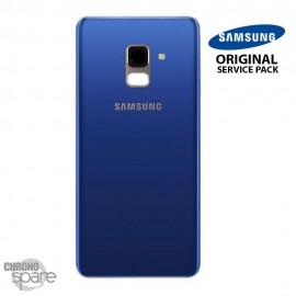 Vitre arrière + vitre caméra bleu Samsung Galaxy A8 2018 A530F (Officiel)