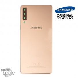 Vitre arrière + vitre caméra Or Samsung Galaxy A7 2018 SM-750F (Officiel)