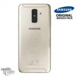 Vitre arrière + vitre caméra Or Samsung Galaxy A6 Plus 2018 A605F (Officiel)