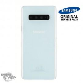Vitre arrière + vitre caméra Blanc Prisme Samsung Galaxy S10 PLUS G973F (Officiel)