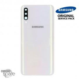 Vitre arrière + vitre caméra Blanc Samsung Galaxy A50 A505F (Officiel)