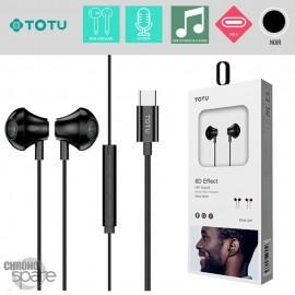 Ecouteur type-c intra-auriculaire - noir TOTU EAUA-027