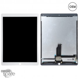 Ecran LCD + vitre tactile blanche iPad Pro 12.9 pouces A1652 & A1584 avec nappes OEM
