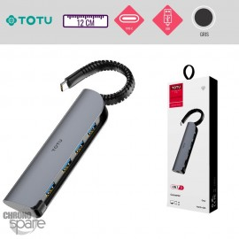 Adaptateur Type-C vers 4 USB gris TOTU