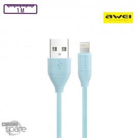 Câble Soft-touch Lightning 1M- Bleu clair