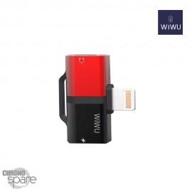 Adaptateur Lightning WIWU Gimini 2 sorties - Charge & écoute - Noir et Rouge