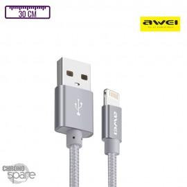 Câble tressé Lightning 30cm - Gris