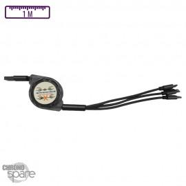 Câble multi embouts Lightning/Micro USB/Type C gris avec enrouleur transparent - 1 mètre