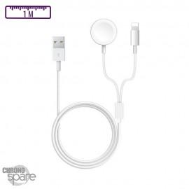 Cable de recharge magnétique 2 en 1 Lightning & Iwatch 1m