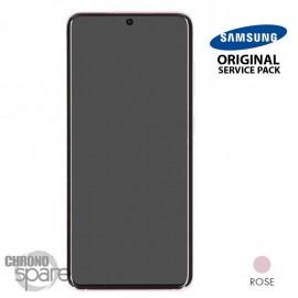 Ecran LCD + Vitre Tactile + châssis rose Samsung Galaxy S20 (officiel)