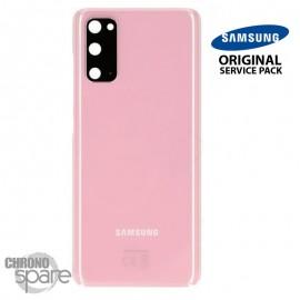 Vitre arrière + vitre caméra rose Samsung Galaxy S20 (Officiel)