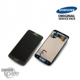 Vitre tactile et écran LCD Samsung Galaxy S5 noir / bouton or G900F (officiel) GH97-15959D