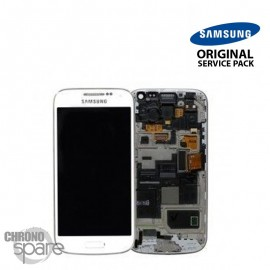 Vitre tactile + écran LCD + châssis Galaxy S4 Mini i9195 Blanc (officiel) GH97-14766B