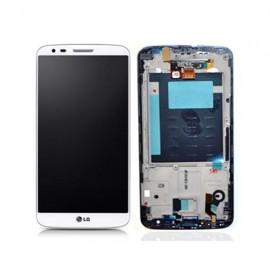 Ecran LCD + vitre tactile + châssis LG G2 D802 Blanc (officiel) ACQ87040902