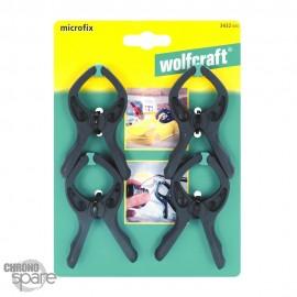 Lot de 4 Micro-pinces à ressort Wolfcraft