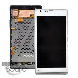 Bloc Vitre tactile Blanche + LCD + Chassis Xperia SP C5303