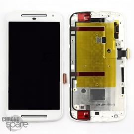 Ecran LCD + vitre tactile + châssis Motorola Moto G 2ème génération 3G XT-1063/1068/1069 Blanc