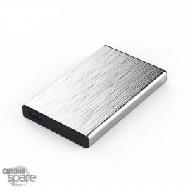 Boitier externe disque dur 2.5 pouces (9,5mm) SATA USB 3.0 Metal Silver