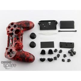 Coque complète avec boutons manette PS4 - Black Red Skull