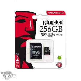 Carte mémoire Kingston Micro SDXC 256Go Class 10 + Adaptateur
