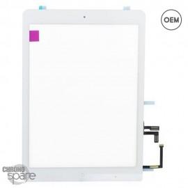 Vitre tactile blanche + bouton home + scotch 3M iPad Air OEM