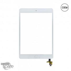Vitre tactile blanche + bouton home + scotch 3M iPad Mini 1/2 OEM